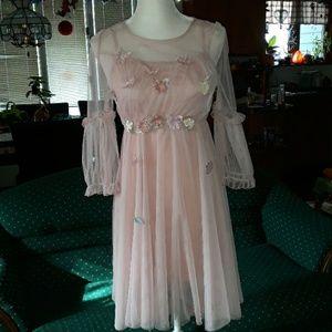 Pink tulle flower dress w pink under layer dress